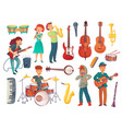 cartoon young singers with microphones and vector image vector image