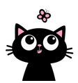 cat head face looking at butterfly insect cute vector image