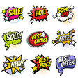 comic speech bubbles with promo words discount vector image vector image