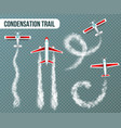 condensation trail airplanes realistic vector image vector image