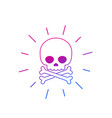 danger icon with skull and bones line vector image