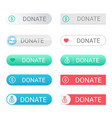 donate buttons set for web sites with small icons vector image vector image