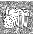 Doodle pattern with black and white photo camera vector image vector image