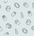 garbage outline isometric pattern vector image vector image