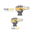 hand with beer bottle logo design template vector image