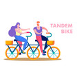 happy couple riding tandem bike flat text banner vector image vector image