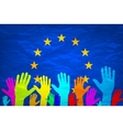 Image of hands on the background of the European vector image vector image