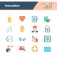 insurance icons flat design collection 40 for vector image