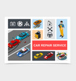isometric car repair service composition vector image