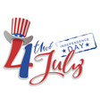 july 4 independence day text greeting card vector image