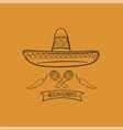 line cactus sombrero vector image