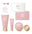 logo lotus natural health care cosmetics packagin vector image