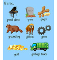 Many words for alphabet G vector image
