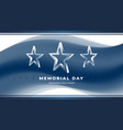memorial day greeting card with 3d star vector image