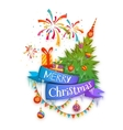Merry Christmas banner with pine gifts and vector image vector image