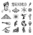 mexico set in vintage style traditional national vector image vector image