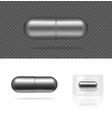 mock up realistic transparent pill metallic vector image vector image