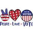 peace love vote isolated on white background vector image vector image