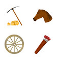 pickax hoe horse head wheel cart quiver with vector image vector image