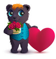 pretty black bear holds basket bouquet red rose vector image vector image