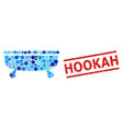 scratched hookah stamp imitation and bathtub vector image vector image