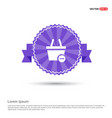shopping cart and delete sign - purple ribbon vector image vector image