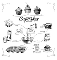simple cupcake recipe step step hand drawn vector image vector image