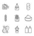 snacks icons set outline style vector image vector image
