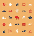 Sufficient economy flat icons with shadow vector image