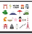 Travel Japan icons set vector image