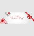 valentines day with gift box and red ribbon vector image vector image