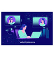 video conferencing at home woman having vector image