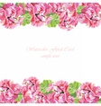 Watercolor geranium flowers card vector image vector image