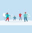winter characters playing snowballs joyfull people vector image vector image