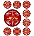 winter sale tags with 5 - 85 percent text vector image vector image