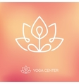 Yoga lotus pose linear logo vector image