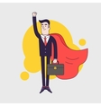 Young serious businessman superhero flying with vector image vector image