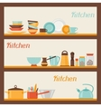 Horizontal banners with kitchen and restaurant vector image