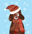 a dog in a hat and scarf vector image