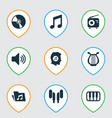 Audio icons set collection of tuner sound