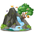 background scene waterfall and birds vector image vector image