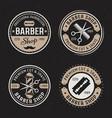barber shop set four colored vintage vector image