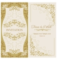 Baroque wedding invitation gold and beige vector image vector image