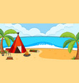 beach landscape scene with tent camping vector image vector image