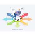 businessman handshake on arrow infographics vector image vector image