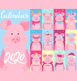 calendar for 2020 week start on sunday funny pigs vector image vector image