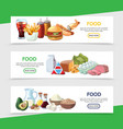cartoon food horizontal banners vector image vector image