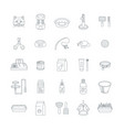 cat accessories thin line icons vector image