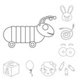 children s toy outline icons in set collection for vector image