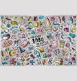 colorful doodle cartoon set baobjects vector image